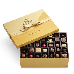 Boîte-cadeau or de chocolats assortis, ruban or, 105 mc.