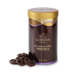 Dark Chocolate Covered Pretzel Canister, 454 g.