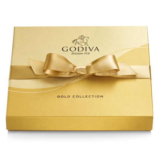 Assorted Chocolate Gold Gift Box, Gold Ribbon, 19 pc. image number null