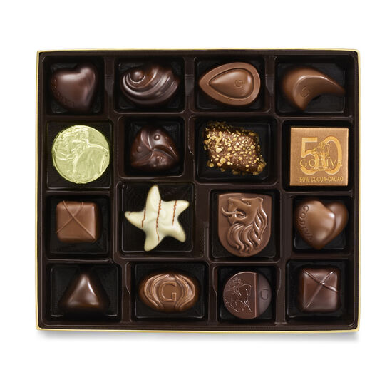Assorted Chocolate Gold Gift Box, Red Ribbon, 19 pc. image number null