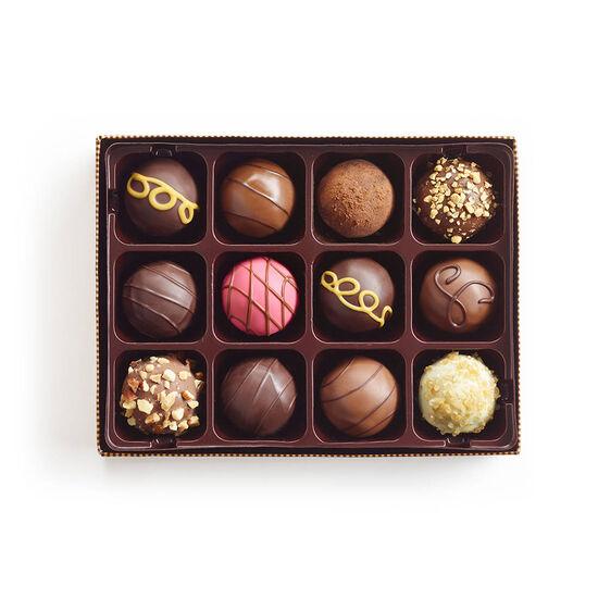 Boîte-cadeau de truffes au chocolat de spécialité, ruban or classique, 12 mc. image number null