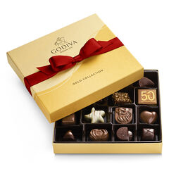 Assorted Chocolate Gold Gift Box, Red Ribbon, 19 pc.