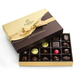 Boîte-cadeau de chocolats noirs, ruban or, 22 mc.