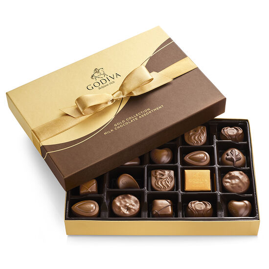 Milk Chocolate Gift Box, Gold Ribbon, 22 pc. image number null