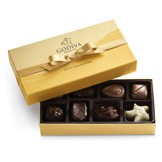 Assorted Chocolate Gold Gift Box, Gold Ribbon, 8 pc. image number null