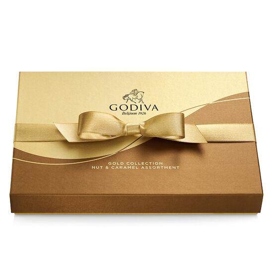 Boîte-cadeau de chocolats aux noix et au caramel, ruban or, 19 mc. image number null
