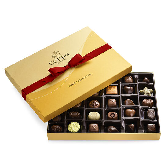 Assorted Chocolate Gold Gift Box, Red Ribbon, 36 pc. image number null
