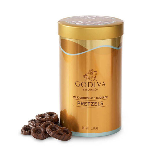 Milk Chocolate Covered Pretzels Canister, 454 g image number null