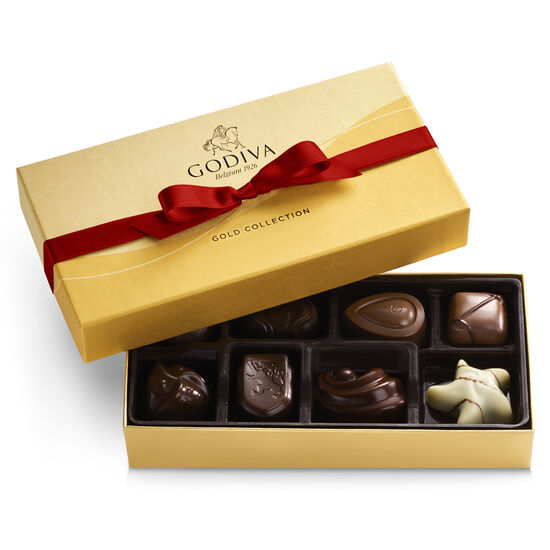 Assorted Chocolate Gold Gift Box, Red Ribbon, 8 pc. image number null