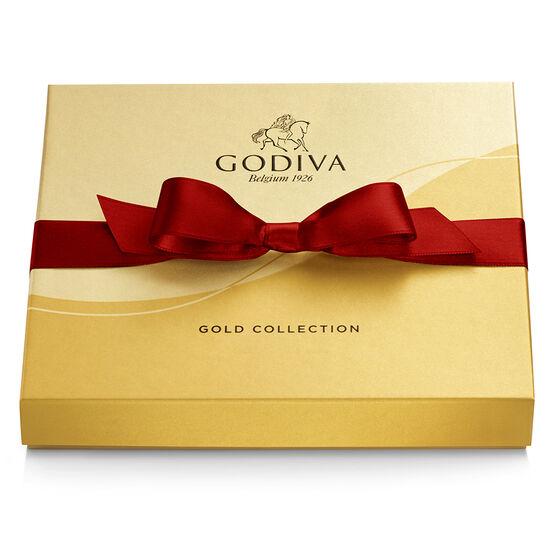 Boîte-cadeau or de chocolats assortis, ruban rouge, 19 mc. image number null