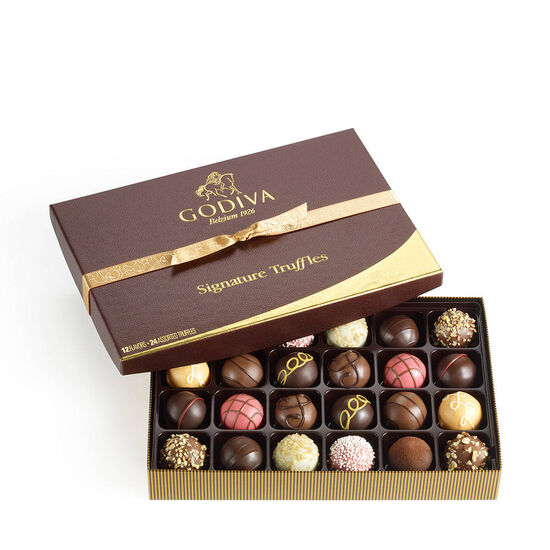 Signature Truffles Gift Box, Classic Gold Ribbon, 24 pc. image number null