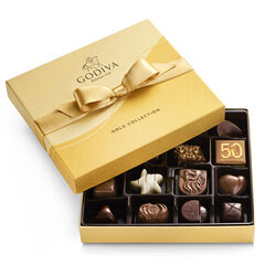 Boîte-cadeau or de chocolats assortis, ruban or, 19 mc.