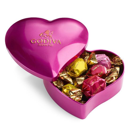 Valentine's Day Heart Tin with Assorted G Cube Chocolate Truffles, 12 pc. image number null