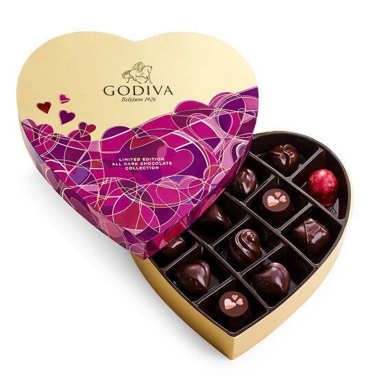 Boîte-cadeau de chocolats noirs assortis de la Saint-Valentin en forme de cœur, 14 mc image number null